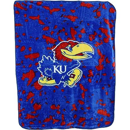 Royal One Size Logo Brands NCAA Kansas Jayhawks Unisex Adult Frosty Fleece Blanket