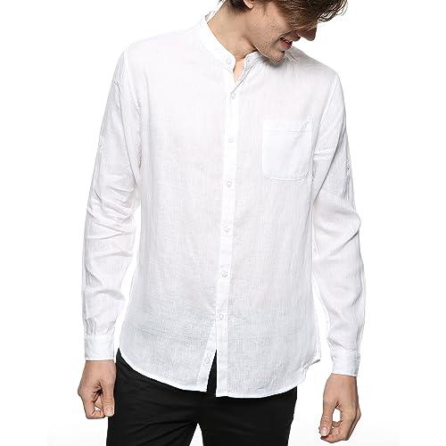 6fa3ac12 BYLUNTA Men's 100% Linen Long Sleeve Band Collar Casual Beach Shirt Regular  Fit