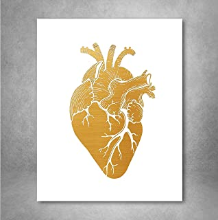 Gold Foil Art Print - Anatomical Gold Foil Heart Design 8x10 inches