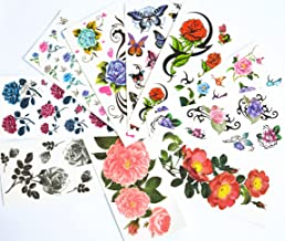 10pcs/package hot selling temporary tattoo stickers various designs including red roses/blue roses/black roses/colorful flowers and butterflies/black flowers/peony/etc.