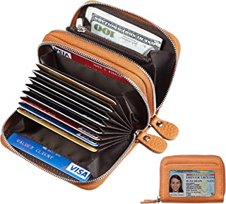 Gostwo Genuine Leather Credit Card Holder with Zipper Womens Card Case RFID Blocking with Zip Around Wallet