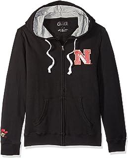 E5 NCAA سترة نسائية بسحاب كامل، نبراسكا، أسود، L