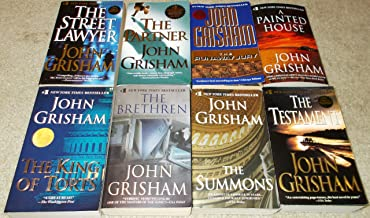 set of 8 paperbacks by John Grisham: The Testament, The Summons, The Brethren, A Painted House, The Street Lawyer, The King of Torts, The Partner, and The Runaway Jury