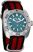 Vostok Amphibian Scuba Dude Mechanical Wrist Watch Blue and Black Dials (710059, Black+red)
