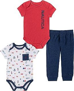 Nautica Baby Boys' Bodysuit Pants Set, Red/Navy, 18M