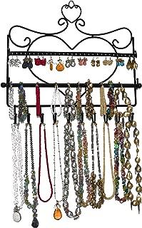 ARAD Metal Wall Mount Heart Shaped Jewelry Display Rack-Necklaces, Earrings, Bracelets-Black