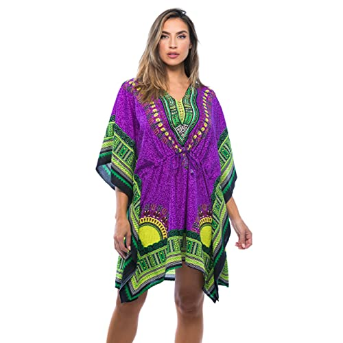 NEW WOMENS LADIES KAFTAN LONG DRESS AFRICAN DRESS PURPLE  DASHIKI