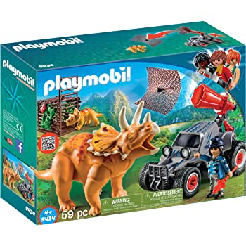 PLAYMOBIL Dinos 9434 Offroader mit Dino-Fangnetz, Ab 4 Jahren