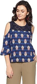 Akkriti By Pantaloons Women's Rayon Tunic Top (205000005872255_Blue_Small)