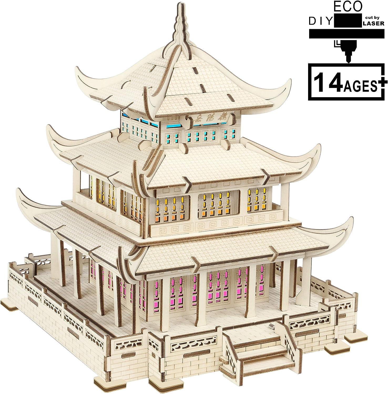 SXA Holzpuzzle 3D-Modell, Bunte Lichter + Blautooth Audio + Akku, DIY Puzzle Modell Dekoration Geschenk für Jugendliche, Erwachsene B07PJ4S7WP Glücklicher Startpunkt | Sale Deutschland