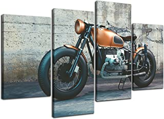 NAN Wind 4 Pieces Modern Canvas Painting Wall Art The Picture For Home Decoration Vintage Motorcycle Photography Print On Canvas Giclee Artwork For Wall Decor