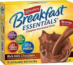 Carnation Breakfast Essentials Powder Drink Mix, Rich Milk Chocolate, Box of 10 Packets