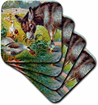 3dRose CST_12391_3 Donkey and Geese Vintage Digital Art Ceramic Tile Coasters, Set of 4