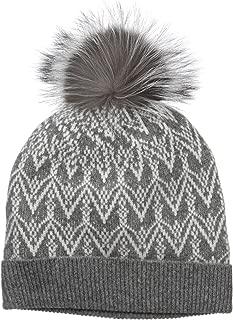 Women's 100% Cashmere Fairisle Hat with Fox Fur Pom