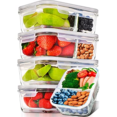 Prep Naturals Glass Meal Prep Containers Glass 2 Compartment 5 Pack - Glass Food Storage Containers - Glass Storage Containers with Lids - Divided Glass Cupcake Carriers  29 Ounce