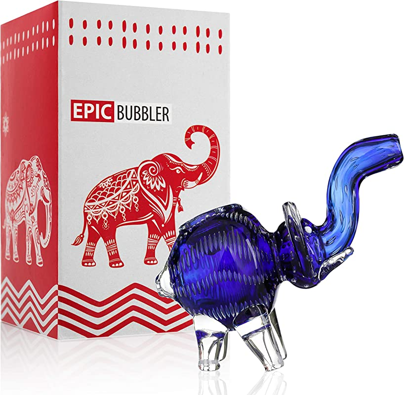 Epic Hand Glass Elephant Device 5 Inch Blue