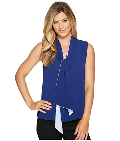 861475750919 Vince Camuto Sleeveless Tie Neck Color Blocked Blouse at 6pm