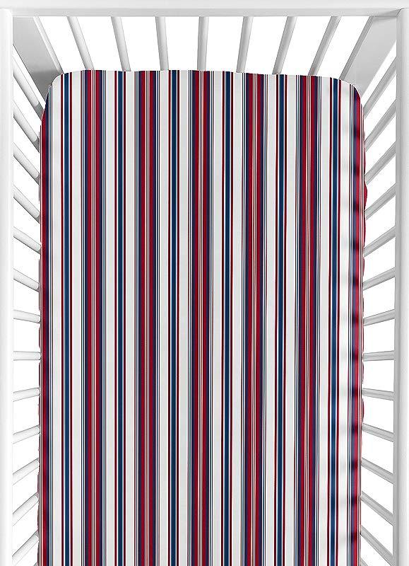 Sweet Jojo Designs Stripe Print Fitted Crib Sheet For Nautical Nights Baby Toddler Bedding Sets