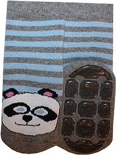 Weri Spezials - Calzini antiscivolo per bambini e neonati, per ragazzi e ragazze: panda In grigio mélange + blu