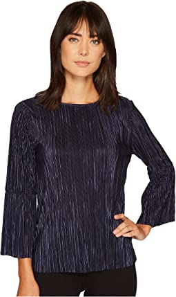 Vince Camuto - Pleated Knit Bell Sleeve Crew Neck Top