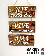 Cartel de madera decoracion, Rie Ama Vive frases personalizadas, vintage o rustico hechos a mano.