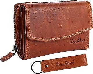 Chunkyrayan Echtleder Damen Geldbörse Hochwertig Vintage RFID Schutz inklusive Leder Schlüsselanhänger P GB-6 Brown