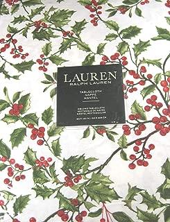 Ralph Lauren Christmas Tablecloth Holly Tree Pine 100% Cotton 60 x 120