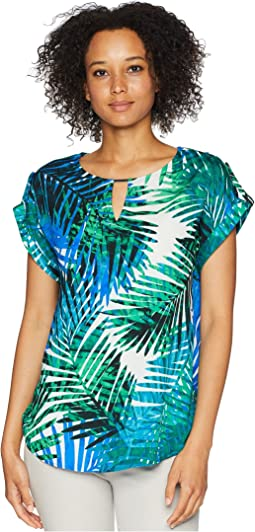 Print Cap Sleeve Top w/ Bar Hardware
