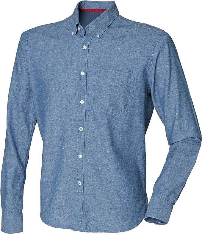 Front Row - Camisa 100% algodón manga larga Casual Diseño clásico Chambray Hombre hombre caballero - Trabajo/Fiesta/Boda