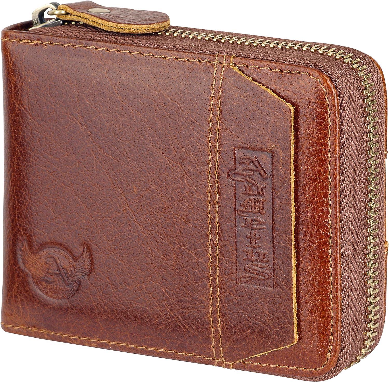 Admetus Men's Genuine Leather High order Bifold Zip-around Free Shipping New Short Wallet