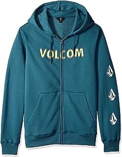 Volcom Men's Supply Stone Zip Up Hooded Fleece Sweatshirt, Navy Green, Large 海外卖家直邮