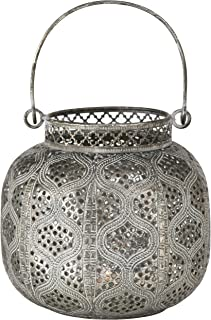 WHW Whole House Worlds Chubby Belly Candle Lantern, Moroccan Metal Lattice Work, Hurricane for Votives and Tea Lights, Distressed Gold, White Gray Patina, Iron, 5.5 Inches