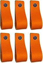 Brute Strength - Leren Handgrepen - Oranje - 6 stuks - 16,5 x 2,5 cm - incl. 3 kleuren schroeven per leren handvat voor ke...