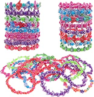 FROG SAC 36 Cute Bracelets for Little Girls - Multicolored Beads Bracelet Set - Stretchy Cute Animal Beaded Party Favor Bracelets - Great Stocking Stuffers for Kids