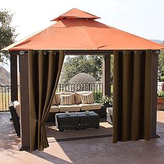 Hosonson Waterproof Outdoor Curtains 52x120 Inch - 2 Panels Grommet Heat Sunlight Blocking Patio Curtain - Noise Reducing ...