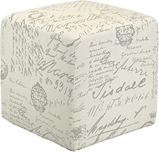 Cortesi Home Braque Cube Ottoman in Linen Script Print Fabric, Beige