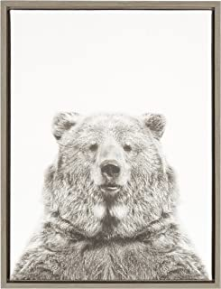 Kate and Laurel Sylvie Bear Black and White Portrait Gray Framed Canvas Wall Art by Simon Te Tai