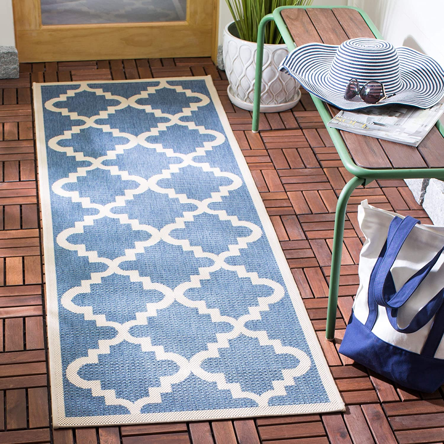 Safavieh Courtyard Collection CY6015-243 bluee and Beige Indoor Outdoor Area Rug, 2 Feet by 3 Feet 7-Inch