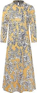 HONGXI Women's Long Sleeve Loose Plain Dresses Casual Long Maxi Dress