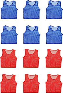 Sports Scrimmage Team Practice Nylon Mesh Vests Pinnies Jerseys Adult Youth Children Soccer, Volleyball, Basketball, Football (12 Jerseys)