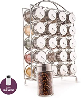 Spice Rack Organizer with Set of 20 Glass Spice Jars Included by Mindspace - Spices and Seasoning Rack for Countertop or Cabinet | The Wire Collection, Chrome