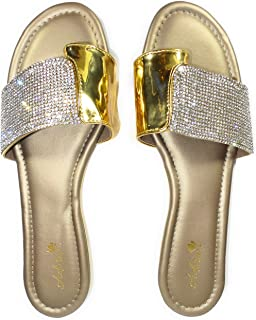 Women Elegant Indian Flat, Flip Flop, Soft, Comfortable & Fashionable Sandals with Toe Ring For Evening Prom/Wedding/Anniv...