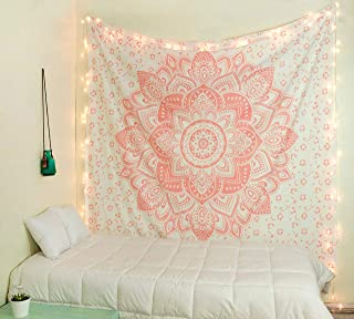 raajsee Glittering Rose Gold Pink Tapestry Wall Hanging Mandala-Bohemian Room Decor-Indian Cotton Throw Hippie Tapestries -Boho Bedding White Golden Queen Bedspread 210x220cm-Meditation Yoga Mat Rugs