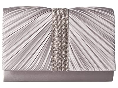Jessica McClintock Alexis Pleated Clutch (Silver) Handbags