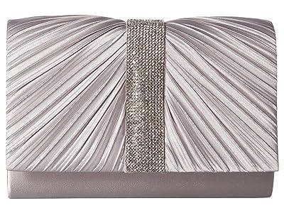 Jessica McClintock Alexis Pleated Clutch (Silver) Handbags