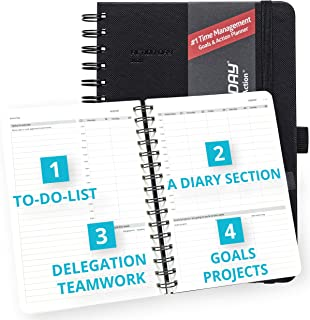 Clearance Sale - Action Day Academic Planner 2019-2020 - #1 Time Management Design & Get Things Done, Daily Weekly Monthly Yearly Journal, Agenda, Hardcover, Pocket, Pen Loop (6x8, Black)