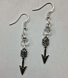 Arrow Earrings, Pi Beta Phi Earrings, Brave Earrings, with a clear faceted crystal accent bead, on sterling silver earwires