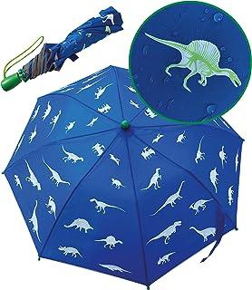 HECKBO® Ombrello Magico per Bambini - Cambia Colore con la Pioggia - Ombrello Pieghevole per Cartella e Zaino - Strisce Ri...