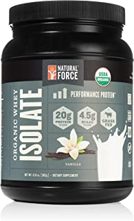 Organic Whey Protein Isolate Powder Vanilla, Best Grass Fed Whey Protein Powder for Men and Women*, No Sugar and Non GMO, Made and Sourced in The U.S.A. by Natural Force, 12.8 Ounce