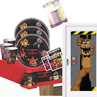 Five Nights at Freddy's Party Supplies Pack Serves 16: Dinner Plates Luncheon Napkins Cups Table Cover and Door Cover with Birthday Candles (Bundle for 16)